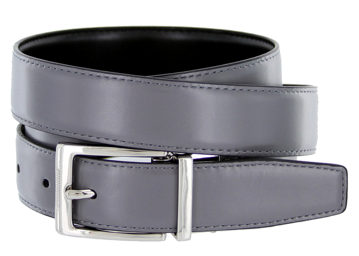 4089e reversible leather dress belt 1 1 8 quot or 30mm gray