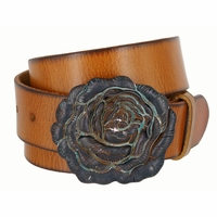 "Women's Copper Patina Rose Buckle One Piece Full Grain Leather Casual Jean Belt 1-1/2"" wide - Tan"