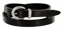 "2486 Women's Skinny 1/2""  Genuine Leather Dress Belt Made in Italy  - Black"