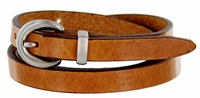 "2486 Women's Genuine Leather Dress Belt Made in Italy 1/2"" wide - Tan"