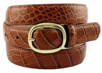 "Women's Italian Leather Designer Dress Belt 1"" Wide - Tan"