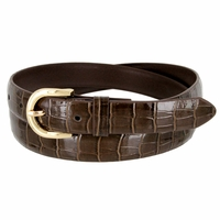 Women's Skinny Alligator Skin Embossed Leather Casual Dress Belt with Buckle - Brown