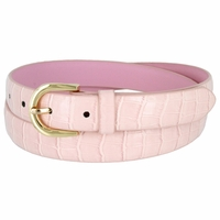 Women's Skinny Alligator Skin Embossed Leather Casual Dress Belt with Buckle - Pink
