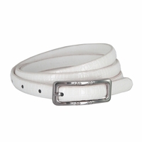Women's Skinny Alligator Skin Embossed Leather Casual Dress Belt with Buckle - White