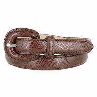 "Women's Skinny Snakeskin Embossed Genuine Leather Dress Belts 3/4"" or 19mm - Brown"