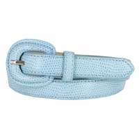 "Women's Skinny Snakeskin Embossed Genuine Leather Dress Belts 3/4"" or 19mm - Light Blue"