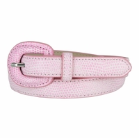"Women's Skinny Snakeskin Embossed Genuine Leather Dress Belts 3/4"" or 19mm - Pink"