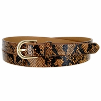 Women's Skinny Snakeskin Embossed Leather Casual Dress Belt with Buckle - Brown