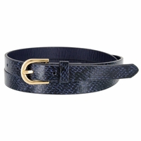 Women's Skinny Snakeskin Embossed Leather Casual Dress Belt with Buckle - Navy
