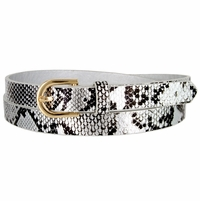 Women's Skinny Snakeskin Embossed Leather Casual Dress Belt with Buckle - Silver