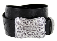 "Xanthe Women's Western Belt Buckle Belt 1 1/2"" wide"
