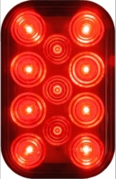 PM   850R-1   Red w/Stripped Wires   Rectangular LED Rear Stop/Turn/Tail Light
