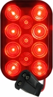 PM   850R-1P   Red w/Plug   Rectangular LED Rear Stop/Turn/Tail Light