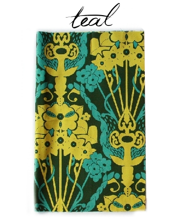 Nouveau Bouquet Teal - by the half yard