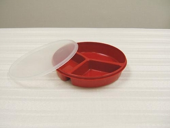 Scoop Dish Partitioned with Lid Redware