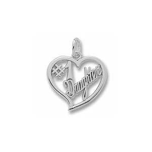 #1 Daughter Script Heart Charm by Forever Charms