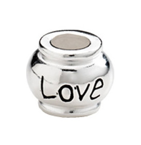 """10mm Kera™ Sterling Silver """"Love"""" Expression Bead"""