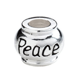"""10mm Kera™ Sterling Silver """"Peace"""" Expression Bead"""