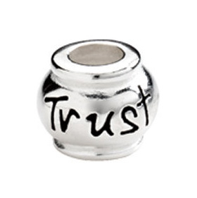 "10mm Kera™ Sterling Silver ""Trust"" Expression Bead"