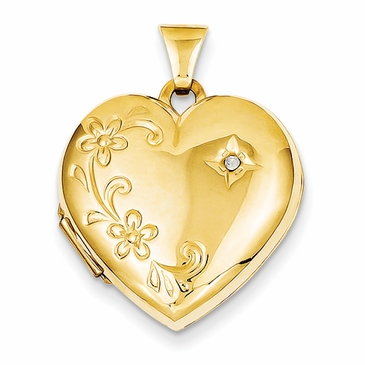 14K Gold Diamond Family Locket