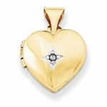 14K Gold Diamond Heart Locket