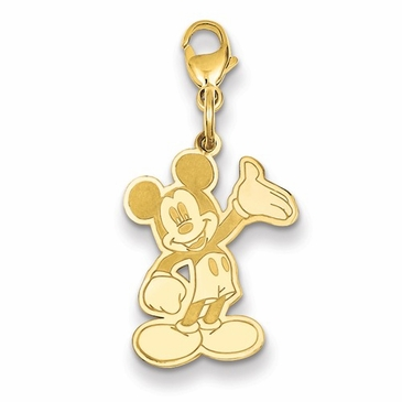 14k Gold Disney Large Waving Mickey Mouse Charm with Lobster Clasp
