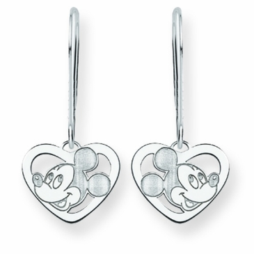 14k Gold Disney Mickey Mouse Silhouette Heart Wire Dangle Earrings