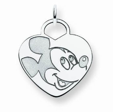 14k Gold Disney Mickey Mouse Solid Heart Charm
