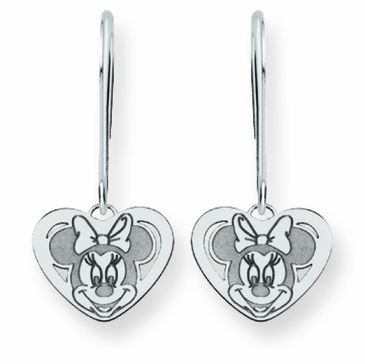 14k Gold Disney Minnie Mouse Cutout Heart Wire Dangle Earrings
