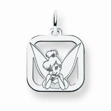 14k Gold Disney Small Tinker Bell Portrait Silhouette Square Charm