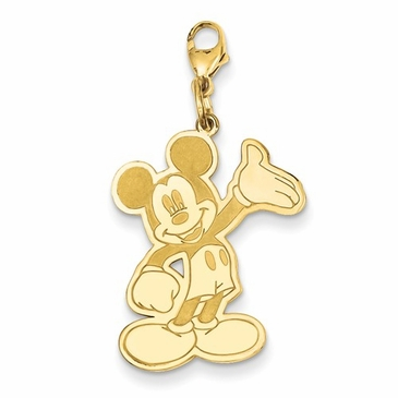 14k Gold Disney Small Waving Mickey Mouse Charm with Lobster Clasp