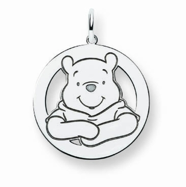 14k Gold Disney Small Winnie the Pooh Silhouette Circle Charm