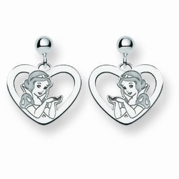 14k Gold Disney Snow White Silhouette Heart Post Dangle Earrings