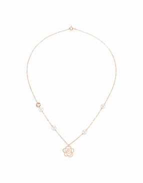 14K Rose Cultured Pearl Necklace with Floral Design