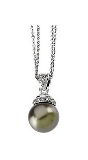 14K White Natural Black Pearl and Diamond Necklace