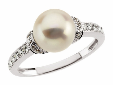14K White Pearl and Diamond Ring