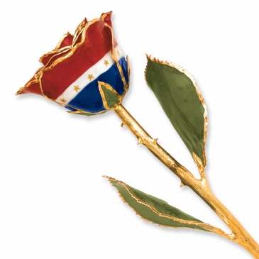 24K Gold Lacquer Real American Flag Rose