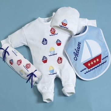 4-piece Nautical Layette Set - Personalized