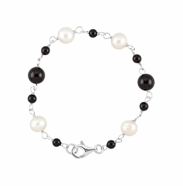 7.5 Inch Armlet with Natural Pearl & Onyx Beads