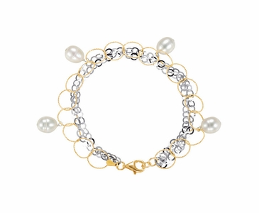 7.5 Inch Pearl Bracelet with Fashion Rings and Link Chain