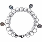 7.5 Inch Pearl Bracelet with Fashion Rings and Link Chain - click to Enlarge