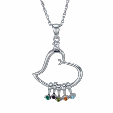 """A Mother's Heart"" Birthstone Pendant Necklace"