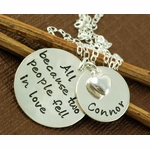 """All Because Two People Fell In Love"" with Baby Name Necklace"