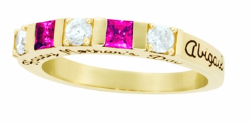 Alternating Birthstone Engraved Band - with Genuine Stones