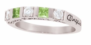 Alternating Birthstone Engraved Band - with Simulated Stones