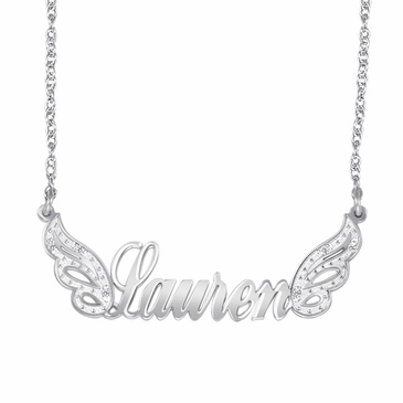 """Angel Wings"" Diamond Name Necklace"