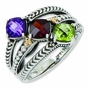 Antiqued Multiple Birthstone Family Ring - click to Enlarge