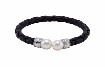 Artistic black leather bracelet with white pearls