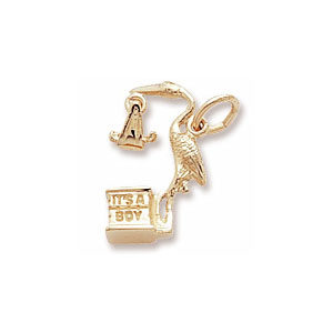 Baby Boy Stork Charm by Forever Charms