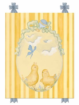 Baby Chicks Pastel Blue Stretched Art Personalized by Dish and Spoon